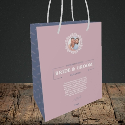 Picture of Traditional Foliage Pink B&G, Wedding Design, Small Portrait Gift Bag