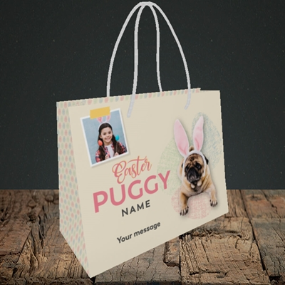 Picture of Easter Puggy, Easter Design, Small Landscape Gift Bag