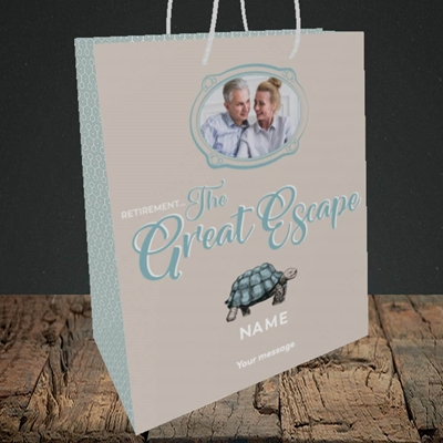 Picture of The Great Escape, Retirement Design, Medium Portrait Gift Bag
