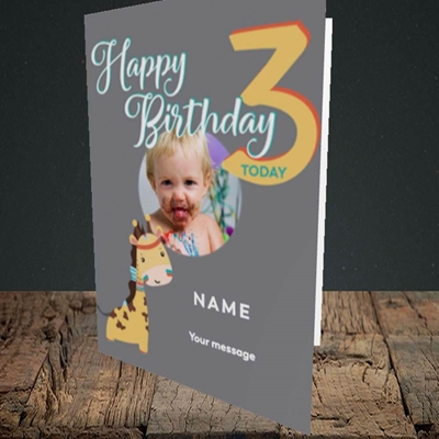 Picture of Giraffe's 3rd, Birthday Design, Portrait Greetings Card