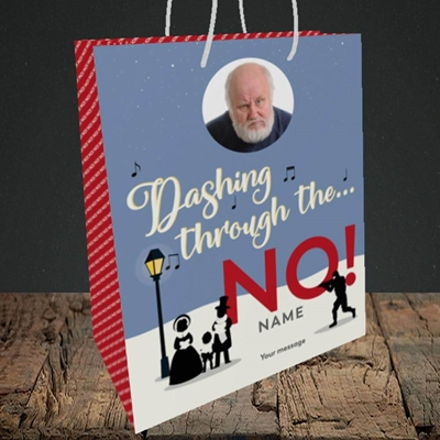 Picture of Dashing Through The... NO!, Christmas Design, Medium Portrait Gift Bag