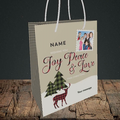 Picture of Joy Peace & Love, Christmas Design, Small Portrait Gift Bag