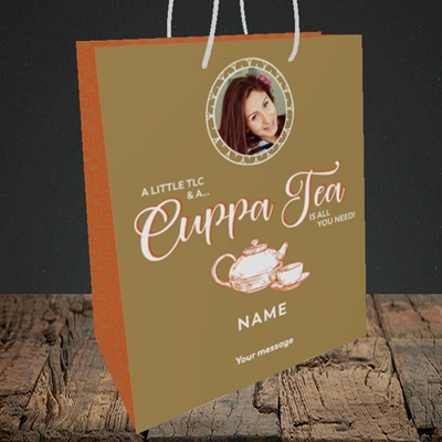Picture of Cuppa Tea, Get Well Soon Design, Medium Portrait Gift Bag