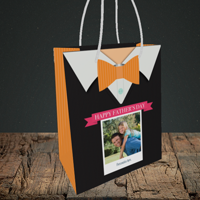 Picture of Bowtie, Father's Day Design, Small Portrait Gift Bag