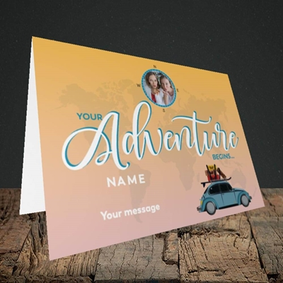 Picture of Adventure Begins, Leaving Design, Landscape Greetings Card