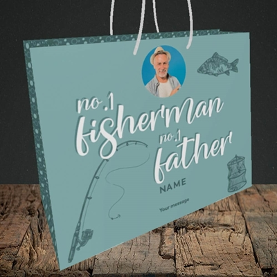 Picture of Fisherman, Father's Day Design, Medium Landscape Gift Bag