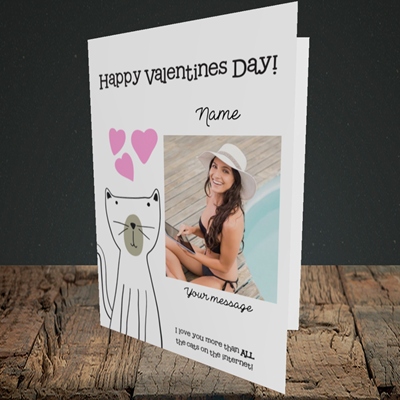 Picture of Cat, Valentine's Design, Portrait Greetings Card