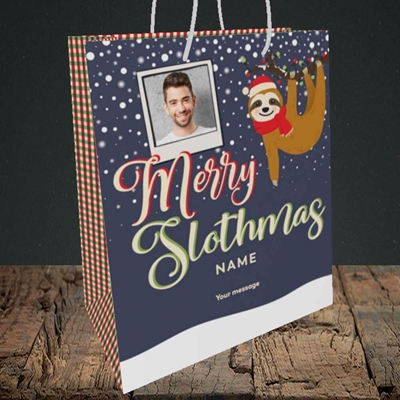 Picture of Merry Slothmas, Christmas Design, Medium Portrait Gift Bag