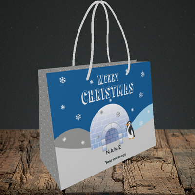 Picture of Igloo Penguin(Without Photo), Christmas Design, Small Landscape Gift Bag