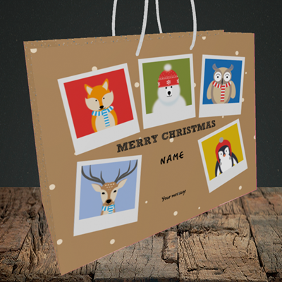 Picture of Animal Polaroid(Without Photo), Christmas Design, Medium Landscape Gift Bag