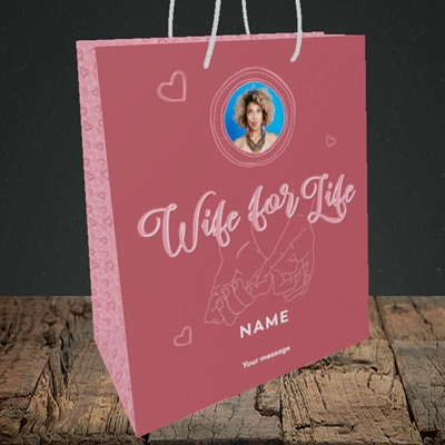 Picture of Wife For Life, Anniversary Design, Medium Portrait Gift Bag
