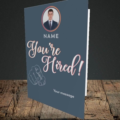 Picture of You're Hired, New Job Design, Portrait Greetings Card