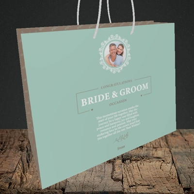Picture of Traditional Foliage Teal B&G, Wedding Design, Medium Landscape Gift Bag