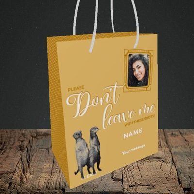 Picture of Don't Leave Me, Leaving Design, Small Portrait Gift Bag