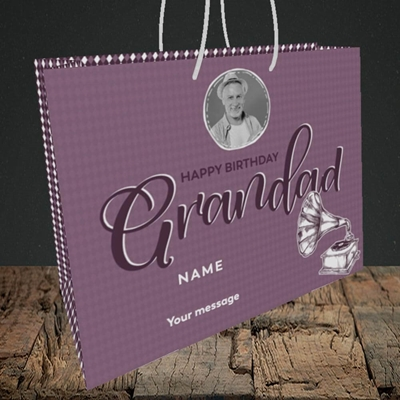 Picture of Grandad Gramophone, Birthday Design, Medium Landscape Gift Bag