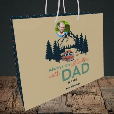Picture of Camper Van With Dad, Father's Day Design, Medium Landscape Gift Bag
