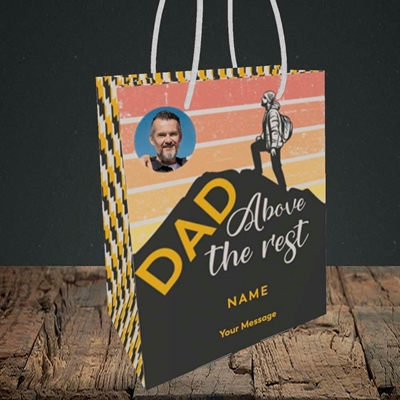 Picture of Dad Above The Rest, Father's Day Design, Small Portrait Gift Bag