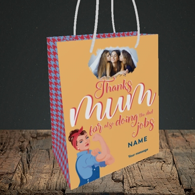 Picture of Dad Jobs, Mother's Day Design, Small Portrait Gift Bag
