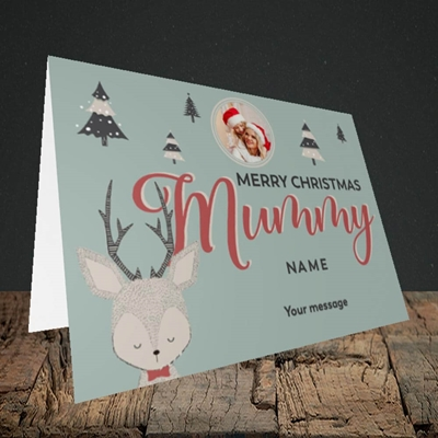 Picture of Mummy Deer, Christmas Design, Landscape Greetings Card