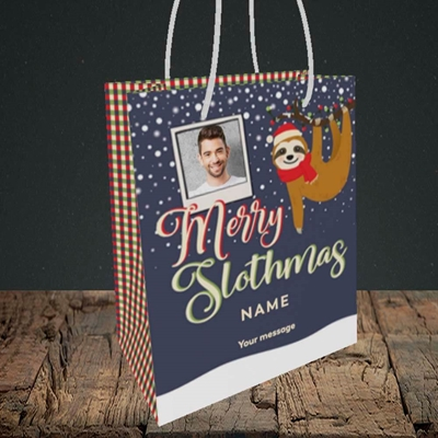 Picture of Merry Slothmas, Christmas Design, Small Portrait Gift Bag