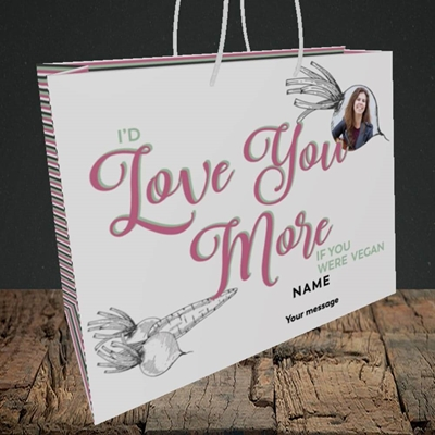 Picture of If You Were Vegan, Valentine's Design, Medium Landscape Gift Bag