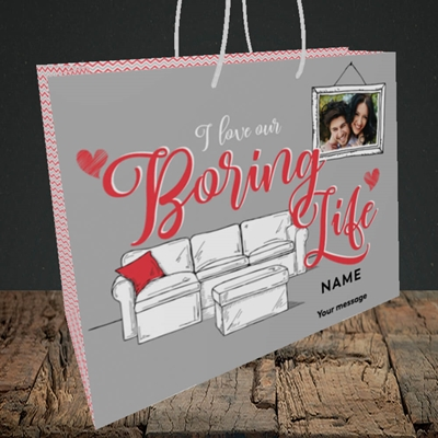 Picture of Boring Life, Valentine's Design, Medium Landscape Gift Bag
