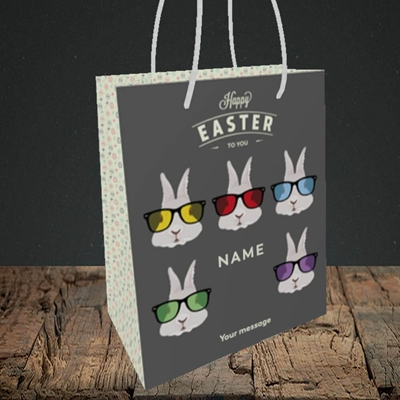 Picture of Hipster Bunnies(Without Photo), Easter Design, Small Portrait Gift Bag