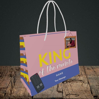 Picture of King Of The Remote, Father's Day Design, Small Landscape Gift Bag