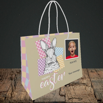 Picture of Patchwork Rabbit, Easter Design, Small Landscape Gift Bag