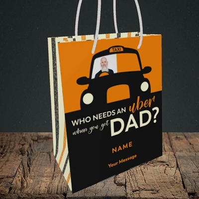 Picture of Uber Dad, Father's Day Design, Small Portrait Gift Bag