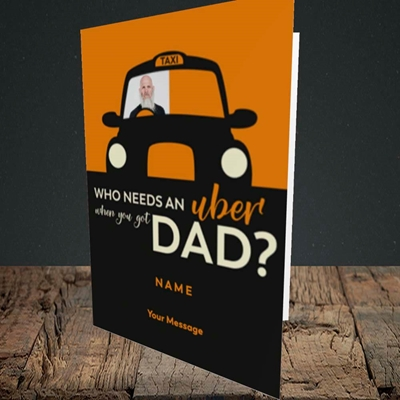 Picture of Uber Dad, Father's Day Design, Portrait Greetings Card