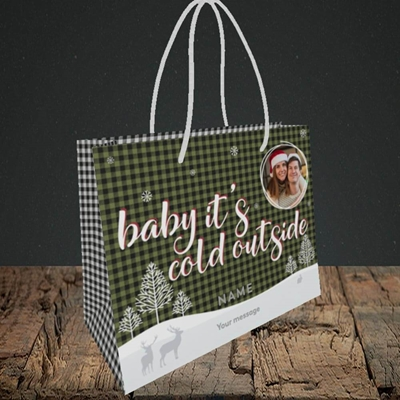 Picture of Cold Outside, Christmas Design, Small Landscape Gift Bag