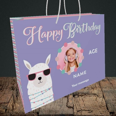 Picture of Cool Lama, Birthday Design, Medium Landscape Gift Bag
