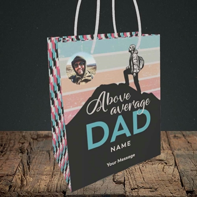 Picture of Above Average Dad, Father's Day Design, Small Portrait Gift Bag