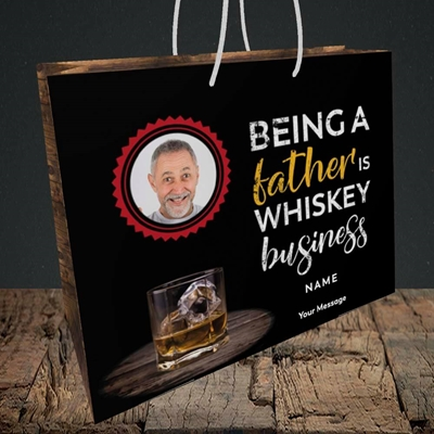Picture of Whiskey Business, Father's Day Design, Medium Landscape Gift Bag