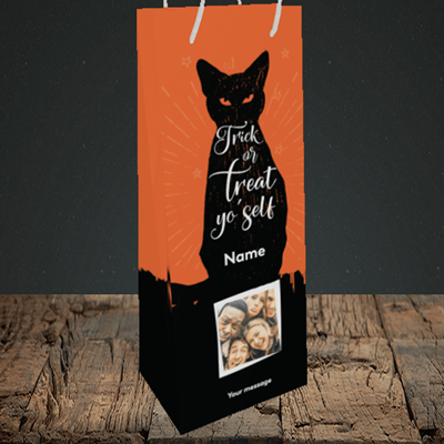 Picture of Cat, Halloween Design, Bottle Bag