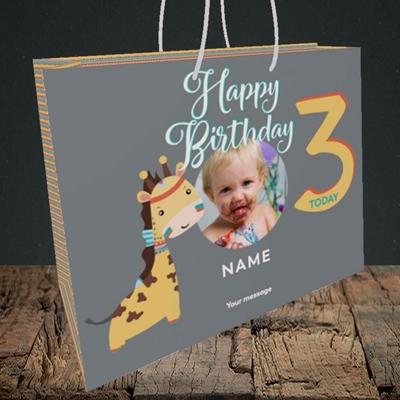 Picture of Giraffe's 3rd, Birthday Design, Medium Landscape Gift Bag
