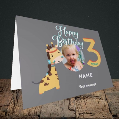 Picture of Giraffe's 3rd, Birthday Design, Landscape Greetings Card