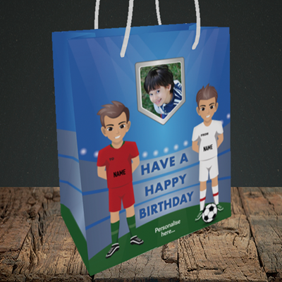 Picture of Football, Birthday Design, Medium Portrait Gift Bag