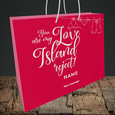 Picture of Love Island Reject, (Without Photo) Valentine's Design, Medium Landscape Gift Bag