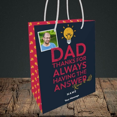 Picture of Know It All, Father's Day Design, Small Portrait Gift Bag