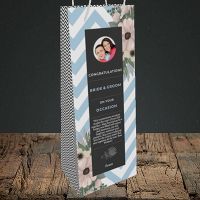 Picture of Zigzag Blue B&G, Wedding Design, Bottle Bag