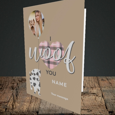 Picture of I Woof You, Valentine's Design, Portrait Greetings Card