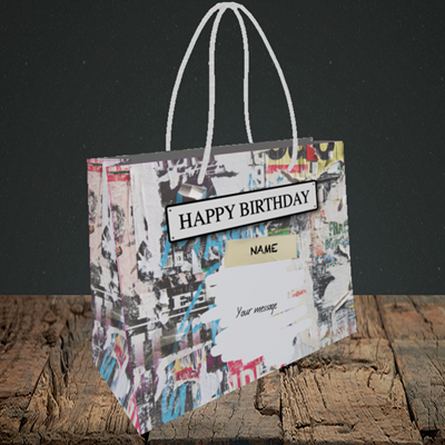 Picture of Graffiti, (Without Photo) Birthday Design, Small Landscape Gift Bag