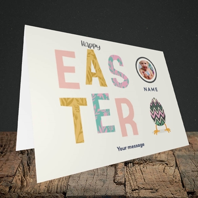 Picture of Happy Walking Egg, Easter Design, Landscape Greetings Card