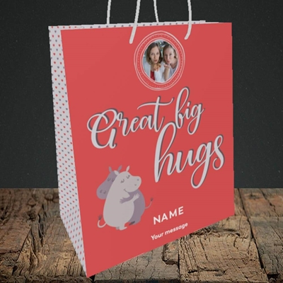 Picture of Big Hugs, Thinking of You Design, Medium Portrait Gift Bag