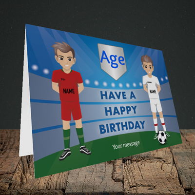 Picture of Football, (Without Photo and editable age) Birthday Design, Landscape Greetings Card