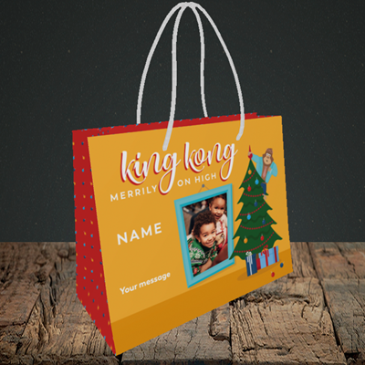 Picture of King Kong, Christmas Design, Small Landscape Gift Bag
