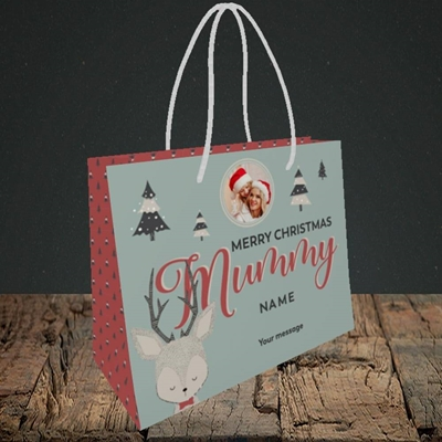 Picture of Mummy Deer, Christmas Design, Small Landscape Gift Bag
