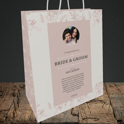 Picture of Floral Strip Edges - Beige To Pink B&G, Wedding Design, Medium Portrait Gift Bag